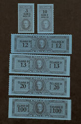 R2/9 Us Revenue Stamp Cigar 1953 Series 123 Class D 3-100 Set Of 6 Mnhng Great