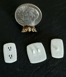 3 Realistic Modern Light Switch And Outlet 112 Set Dollhouse Miniature Wall Decor