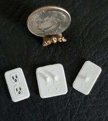 3 Realistic Modern Light Switch And Outlet Set 112 Dollhouse Miniature Wall Decor