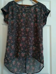 LOVE ON A HANGER Nordstrom Lace Chiffon Floral Tunic Top Blouse L Boho Shirt $10.99