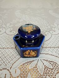 Limoges France Castel Inkwell Pot Cobalt Blue And Gold Courting Couple