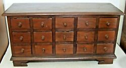 Antique Wooden 15 Drawer Spice Apothecary Cabinet Primitive Vintage Countertop