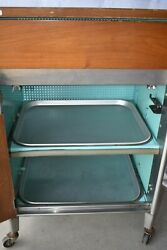 Vintage Mcm Hill Rom Doctorand039s Office Medical Cabinet Drawers Wheels Formica