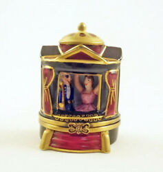 New French Limoges Trinket Box Christmas Theater W Nutcracker Ballet Figurines