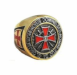 Knight Templar Ring Freemasonry College Style Gold Color Stainless St