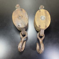 Boston And Lockport Block Co Block Tackle Wood And Metal Pulleys 2 Wheel And Hook