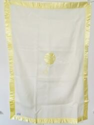 Vintage Quiltex Acrylic Our Baby Blanket White Yellow Nylon Satin Trim Rattle Us