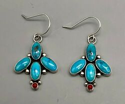 Stylish Turquoise And Coral Earrings By Elle Curley Jackson
