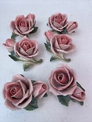 Vintage Capodimonte Porcelain Italy Lot Of 6 Pink Rose Flower