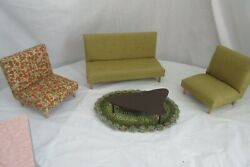 Vintage Mid-century Miniature Doll Mismatched Furniture Couch Chairs Rug