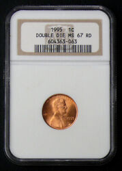 1995 Ms-67 Red Double Die Lincoln One Cent - Ngc Graded