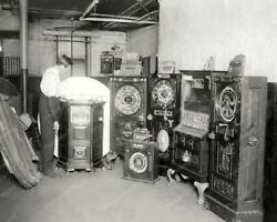 Confiscated Antique Upright Slot Machines 8x10 Photography Reprint