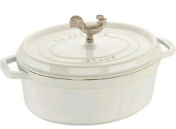 Staub 5.75 Quart Oval Coq Au Vin Cocotte White With 2 Knobs Rooster Handle