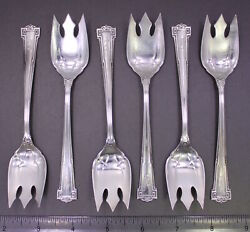 Set Of 6 Wallace Dauphine 1916 Sterling Silver 5 1/2 Ice Cream Fork Lot