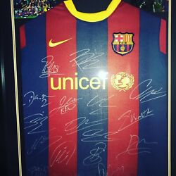 Barcelona Squad Signed Shirt 2012 With Coa Best Club Team Ever