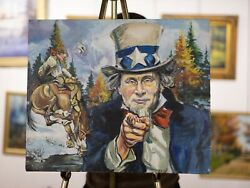 And039uncle Putinand039 Realism Large Original Acrylic Painting Lgolden