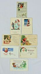 8 Antique Santa Claus Postcards Bags Of Toys Chimneys Poems Greetings