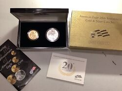 American Eagle 20th Anniversary Gold And Silver Coin Set With Ogp Sharp B41