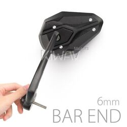 Motorcycle Bar End Mirrors Viperii Black Fits M6 6mm Bolt-on Only Fits Suzuki