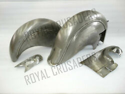 Indian Chief Front And Rear Raw Mudguard Set With Chain Guard Post War Model @jr
