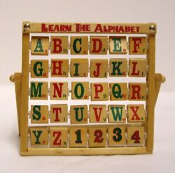 Learn The Alphabet Abacus Style Folding Wooden Toy Turning Blocks Vintage