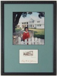 Lady Bird Johnson Framed Display Signed Lbj Ranch Card With Color Photograph
