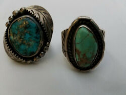Vintage Navajo Turquoise Sterling Silver Rings-lot Of 2 Rings-size 6-7