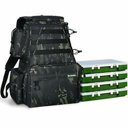 Fishing Tackle Backpack 2 Fishing Rod Holders With 4 Tackle Boxes Large Storage