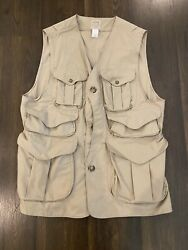 Vintage Filson Hunting Fishing Trapping Tin Cloth Vest Size Large 10 Pocket