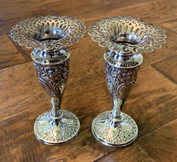 Rmeh Richard Martin And Ebenezer Hall Sterling Silver Candle Stick Holders