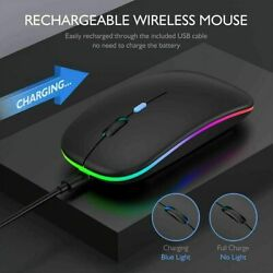 Wireless Led Light Mouse Cordless Optical Mice For Pc Laptop Rechargeable + Usb