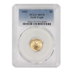 2002 5 American Gold Eagle Pcgs Ms70 Modern Issue Graded Bullion Coin 1/10th Oz