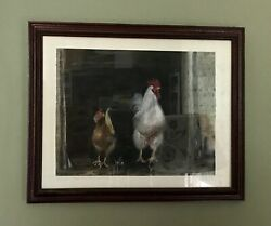 Irish Rooster And Hen Ireland 14x12 Original Pastel Painting Signed Framed Arts