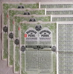 Peru Bond 5 Gold 10£ 1921 Set Of 4 Uncancelled Consecutive Numbers Waterlow And S