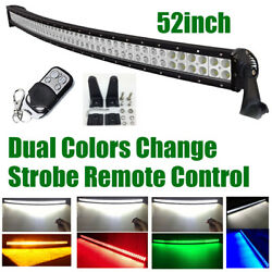 52 Inch 600w Dual Colors Off Road Led Light Bar Strobe Warning Remote Atv Truck
