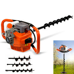 2.4hp Gas Powered Post Hole Digger Yard Earth Auger W/ 3 Drill Bits 4 6 8