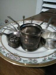 Antique Silverplate Items Ornate Napkin Ring Sterling Shaker Lid Spoons Etc.