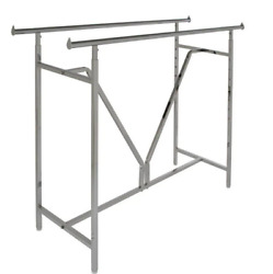 Heavy Duty Chrome Metal Double Bar Adjustable Clothes Rack 60 In. W X 48 In. H