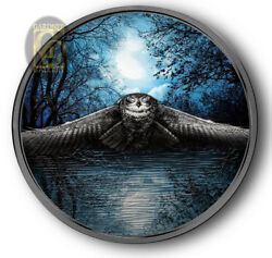 Owl / Night Hunters Coin / 3oz. Silver And Platinum W/box And Coa 2017 / Ggcoins