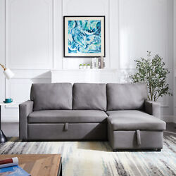 Sectional Sofa Pulled Out Bed 2 Seats Sofa And Reversible Chaise With Storage