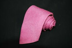 Brioni Pink Check 100 Silk Handmade Neck Tie - Made In Italy 3.5 X 62