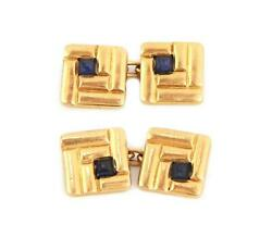 And Co. Vintage Sapphire 14k Yellow Gold Square Cufflinks Liquidation