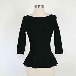 Alaia Peplum Top Blouse Womens F36 Us2 Black Textured Knit Stretch Boat Neck