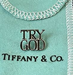 And Co. Try God Sterling Silver .925 Lapel Pin Back Tie Tack