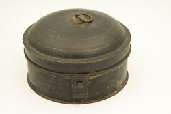 Antique Toleware Spice Tin With Nutmeg Grater. Round. Black And Gold. Metal.