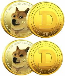 100pc Gold Dogecoin Coin Commemorative 2021 New Collectors Gold Plated Doge Coin