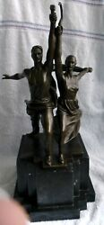Worker And Kolkhoz Woman - Large Soviet Bronze Statue With Marble Stand