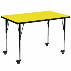 Mobile 36and039and039w X 72and039and039l Rectangular Yellow Hp Laminate Activity Table - Standard He