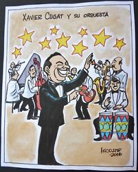 Xavier Cugat And His Orchestra / Cuba Drawing By Lacoste From Cuban Poster Gallery