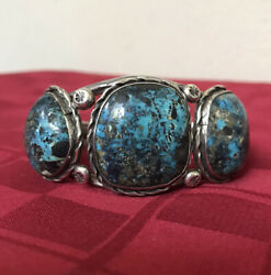 Vintage Bisbee Turquoise Sterling Silver Cuff Statement Bracelet Unsigned